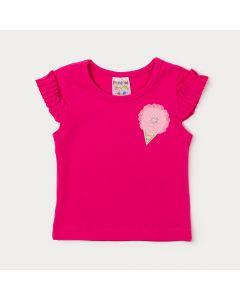 Blusa de Bebê Menina Pink com Aplique de Flor e Babado