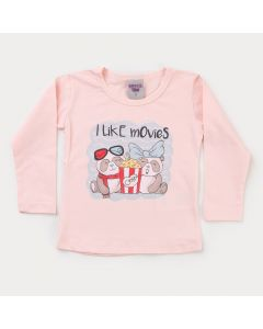 Camiseta em Cotton Salmão para Menina Pipoca