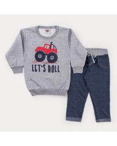 Conjunto de Frio para Menino Casaco Cinza Trator e Calça Cotton Jeans Marinho