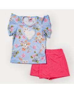 Conjunto de Verão Menina Blusa Azul Floral Coração e Short Saia Salmão