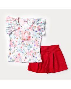 Conjunto de Verão para Menina Blusa Sereia e Short Vermelho Básico