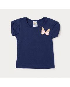 Blusa Infantil Feminina Azul Marinho com Aplique de Borboleta