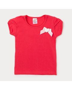 Blusa Infantil Feminina Vermelha com Lacinho Rosa