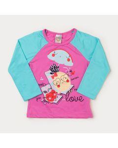 Blusa Infantil Feminina Rosa Frutinhas com Proteção UV