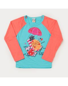 Blusa Infantil Feminina com Proteção UV Frutinhas para Menina Verde Água
