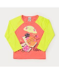 Blusa com Proteção UV Frutinhas Infantil Feminina Laranja