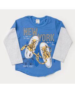 Camiseta Azul Manga Longa Cinza Estampada Infantil Masculina