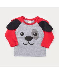 Blusa Manga Longa Cinza Cachorrinho para Bebê Menino