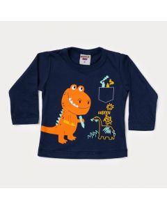 Blusa Manga Longa Bebê Menino Marinho com Estampa de Dinossauro