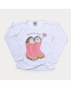 Blusa Infantil Feminina Manga Longa Branca Estampada