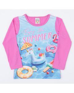 Blusa Infantil Feminina com Proteção UV 50+ Rosa Estampada