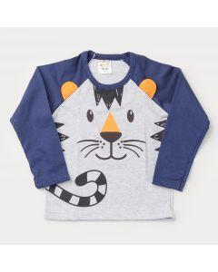 Camiseta Cinza com Marinho Tigre para Menino