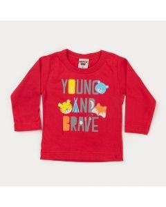 Blusa Manga Longa Vermelha para Bebê Menino Bichinhos