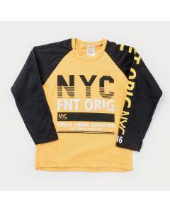 Camiseta Manga Longa Infantil Masculina Amarela Estampada
