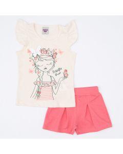 Conjunto de Verão Infantil Feminino Blusa Marfim Borboleta e Short Rosa