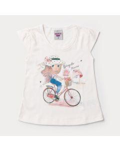 Blusa Marfim para Menina com Estampa de Bicicleta