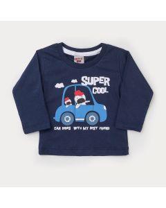 Blusa Marinho Manga Longa Carro para Bebê Menino