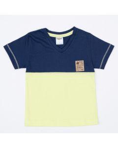 Blusa Marinho com Verde Básica para Menino