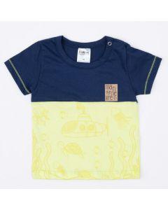 Camiseta Marinho com Verde Fundo do Mar para Bebê Menino