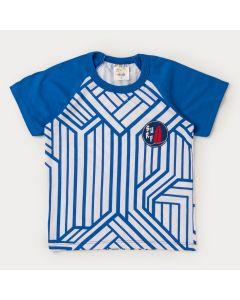 Camiseta Branca com Azul para Menino