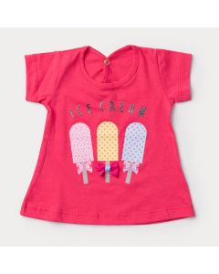 Blusa Pink para Bebê Menina Sorvete com Laço