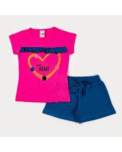 Conjunto Curto Infantil Feminino Blusa Rosa Estampada e Short Marinho