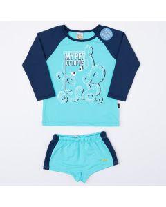 Conjunto Com Blusa Azul Manga Longa e Sunga com Proteção UV para Menino