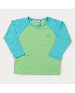 Blusa com Proteção UV para Menino Verde Água