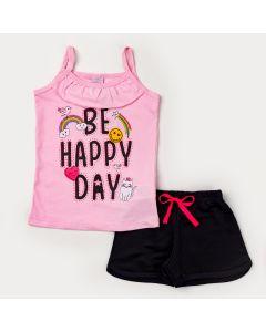 Conjunto de Verão Blusa Alcinha Rosa Estampada e Short Preto em Moletinho