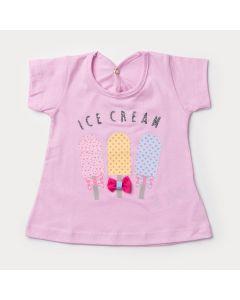 Blusa Rosa para Bebê Menina Sorvete com Laço