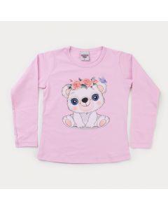 Blusa Rosa Ursinho em Cotton Infantil Feminina