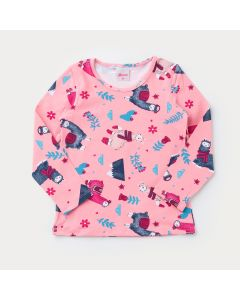 Blusa Rosa Manga Longa Lhama para Menina