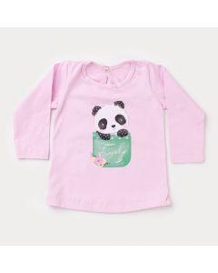 Blusa Rosa Manga Longa Panda para Bebê Menina