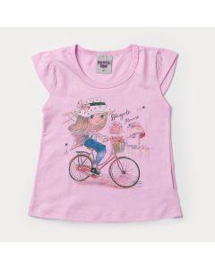 Blusa Rosa para Menina com Estampa de Bicicleta