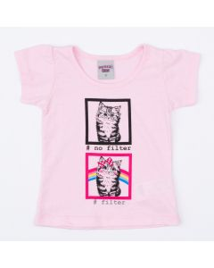 Blusa para Menina Rosa Gatinho