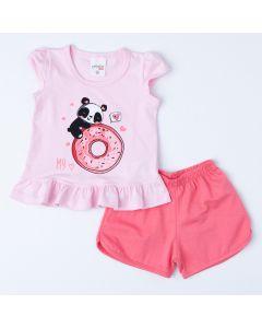 Conjunto Curto para Bebê Menina Blusa Rosa Panda e Short Coral