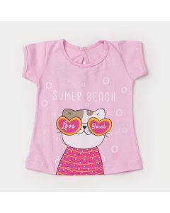 Blusa de Verão Rosa para Bebê Menina Cachorrinho