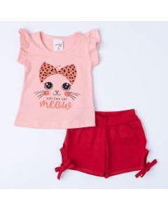 Conjunto para Bebê Menina Blusa Salmão Gatinho e Short Vermelho