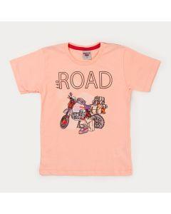 Camiseta Infantil Masculina Salmão Moto