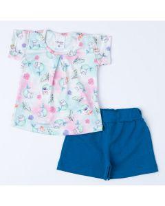 Conjunto de Verão Blusa Tie Dye Sereia e Short Azul Bebê Menina