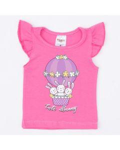 Blusa Rosa Coelhinho para Bebê Menina