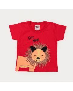 Camiseta Vermelha para Bebê Menino Leãozinho