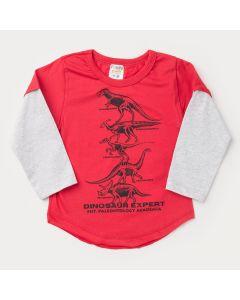 Camiseta Vermelha com Cinza Dinossauro para Menino