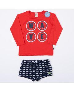 Conjunto com Proteção UV para Menino Sunga Marinho e Blusa Vermelha