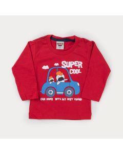 Blusa Carro Manga Longa Vermelha para Bebê Menino