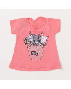 Blusa de Bebê Feminina Rosa  com Estampa de Gatinho