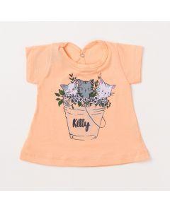 Blusa de Bebê Feminina Salmão com Estampa de Gatinho