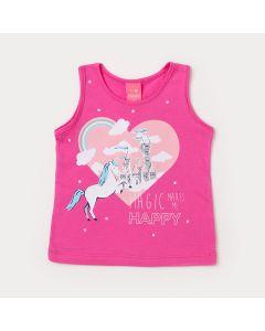Blusa Infantil de Menina Rosa Estampada com Glitter