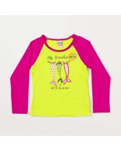 Blusa infantil Feminina Amarelo com Pink e Proteção UV