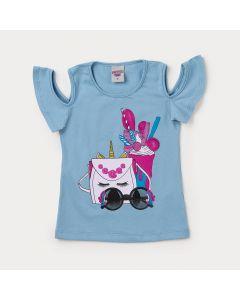 Blusa Infantil Feminina Azul Estampada